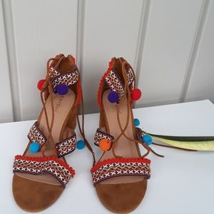 Bamboo Brown Suede Sandals size 8